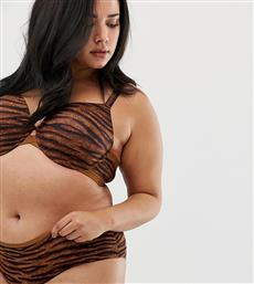 Savage x Fenty curvy animal print perfect t-shirt bra in toffee tiger-Brown από το Asos